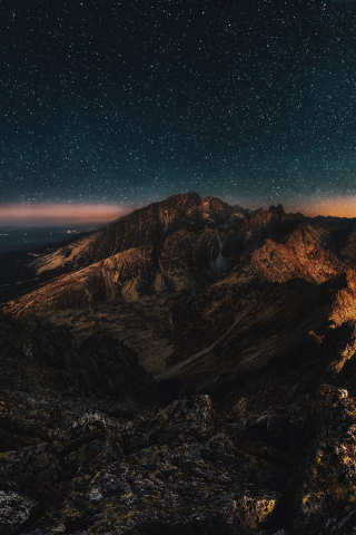 Night Bird view of Mountain