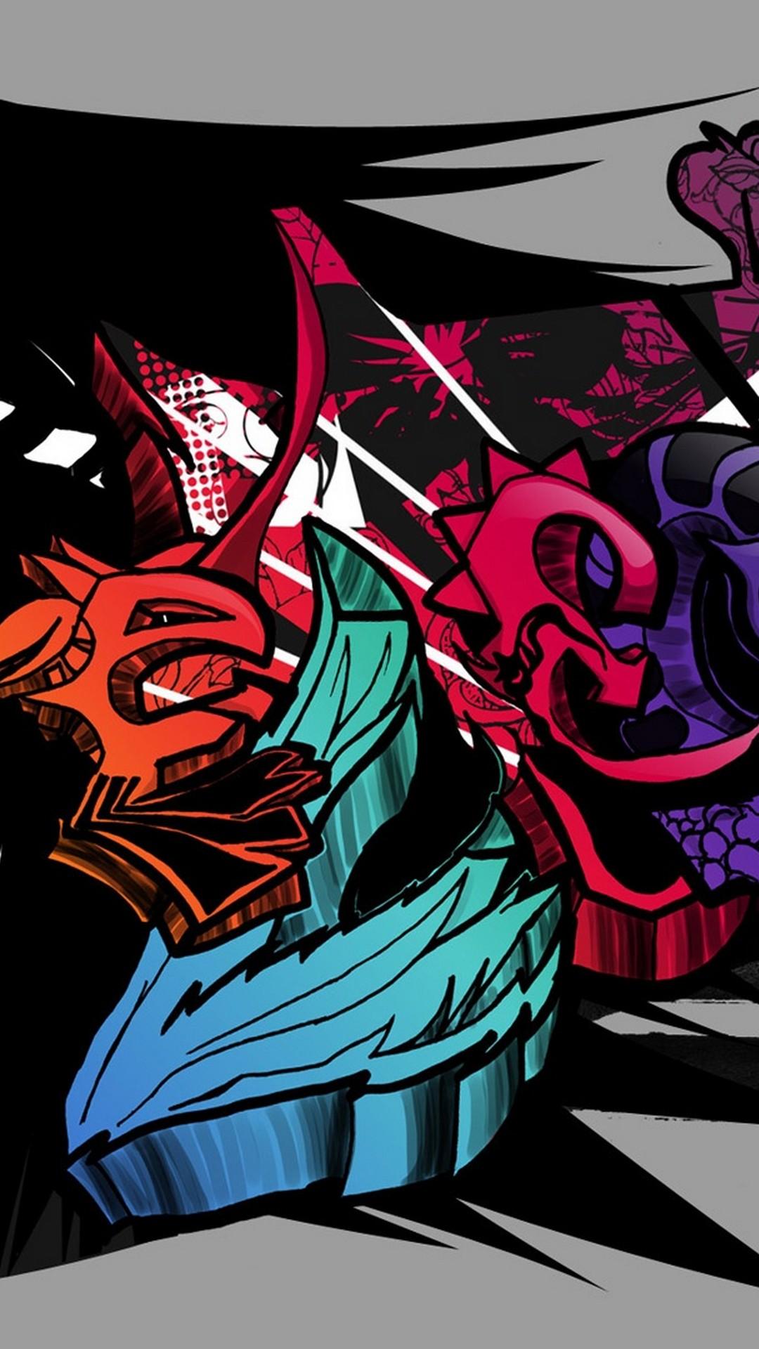Graffiti Font Different Color Wallpaper
