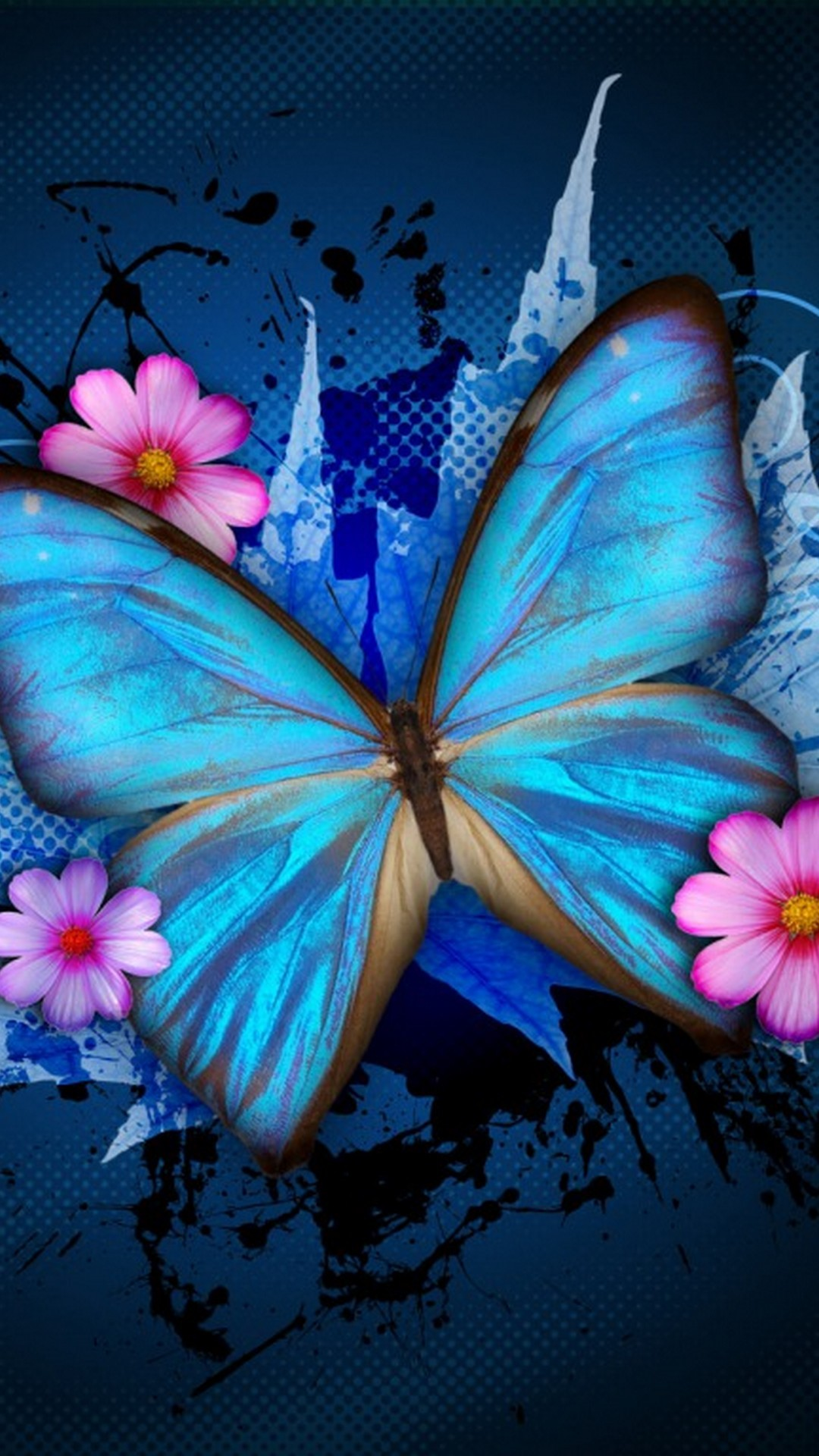 Blue Butterfly With Flowers